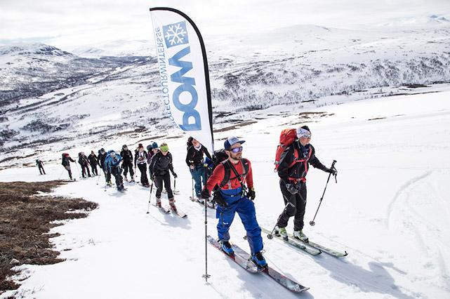 skidor och flagga