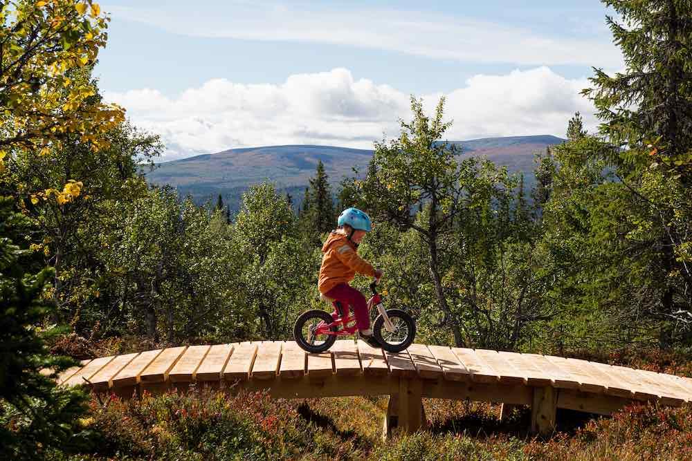 barn på cykel i Lofsdalen