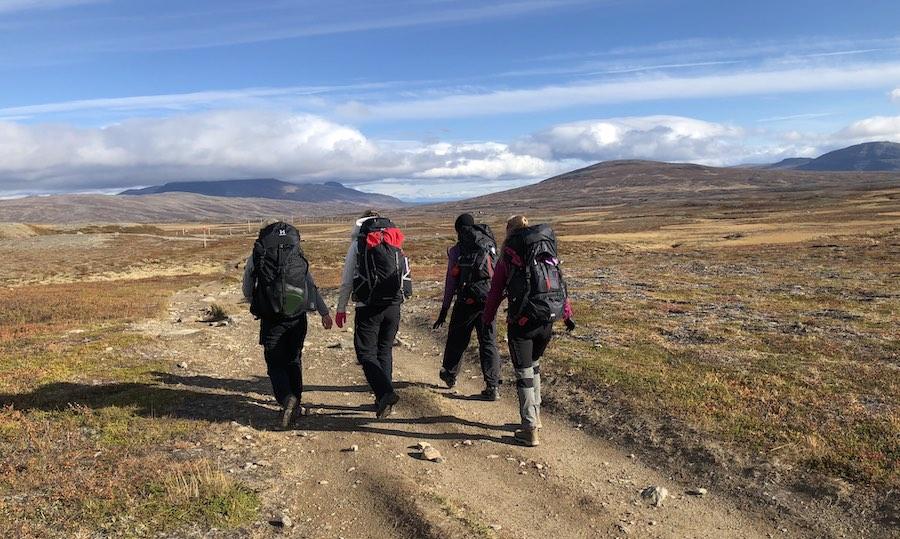 vandring vid jämtlandstriangeln på vandringsled mellan Storulvån och Sylarna